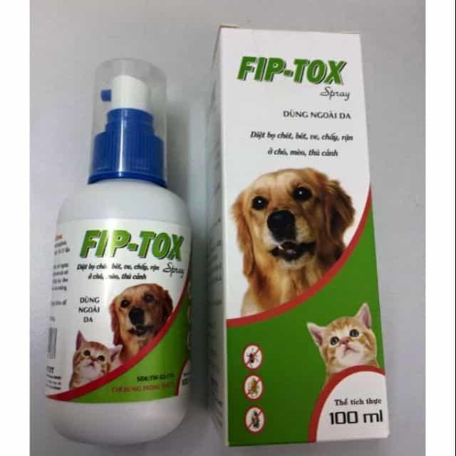 Một chai thuốc xịt ve chó Fiptox