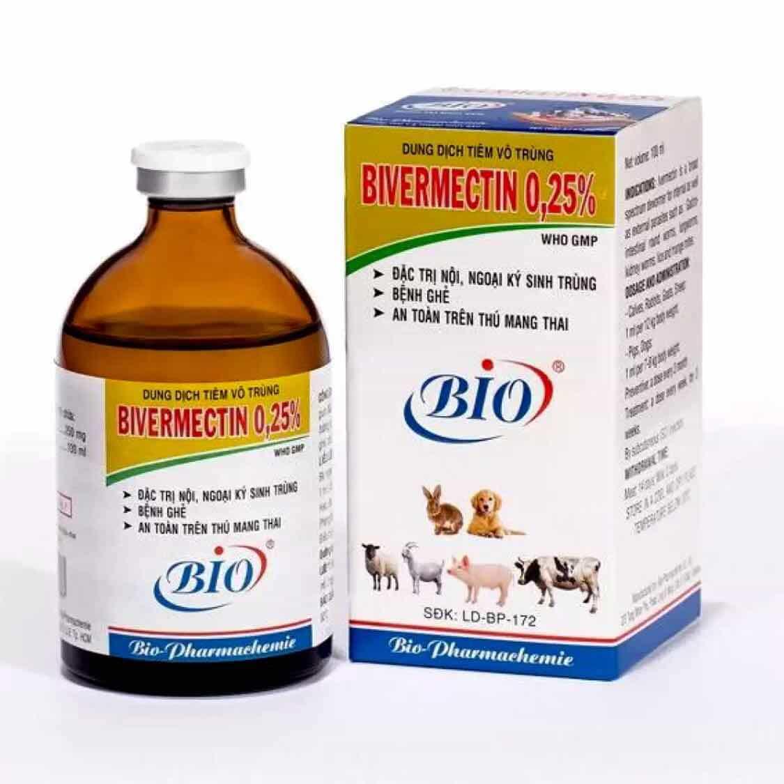 Một hộp thuốc tiêm trị ve chó Bio